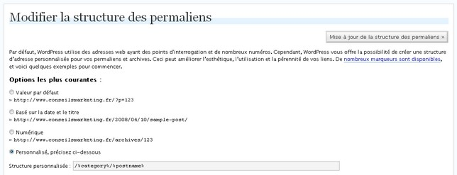 permaliens google wordpress