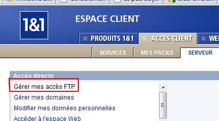 gérer mes acces FTP