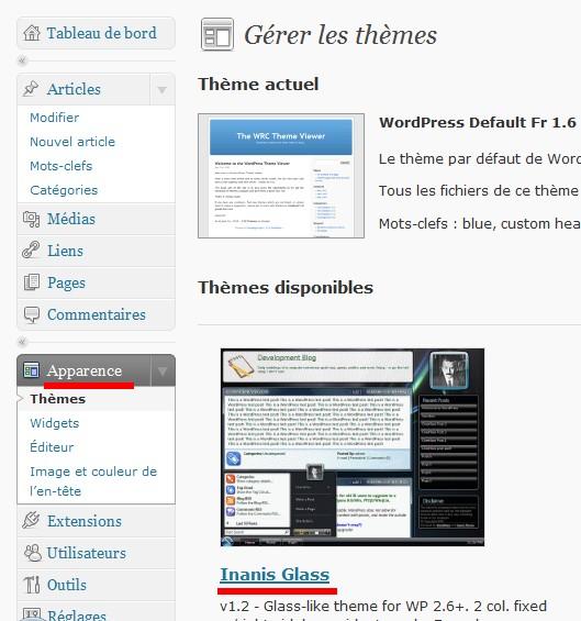thème wordpress configuration