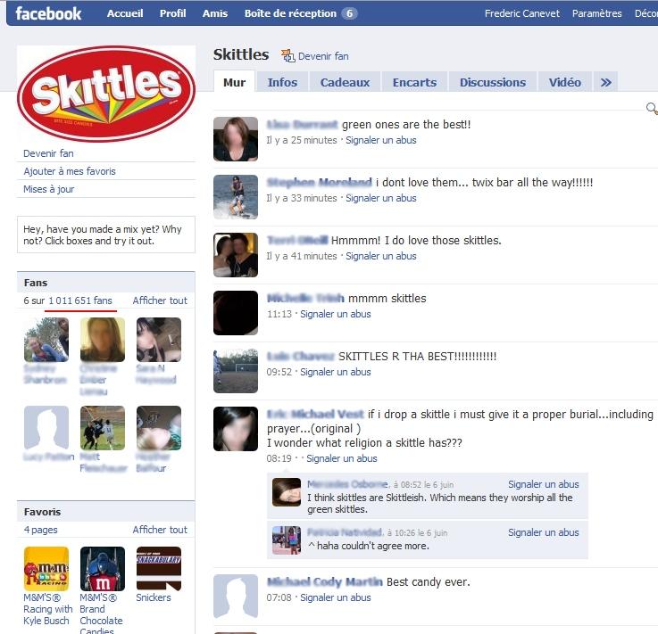skittles sur facebook