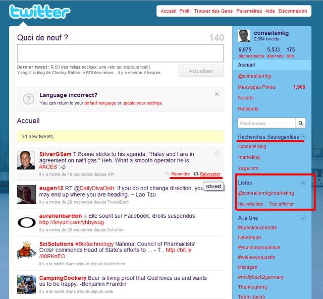 interface twitter