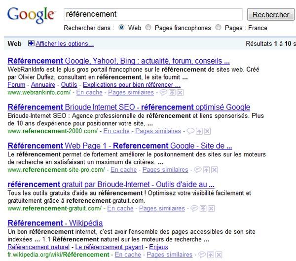 recherche référencement