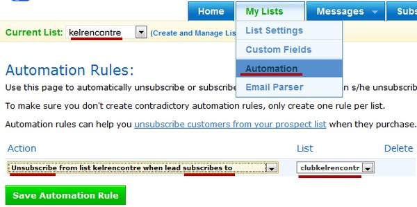 automatisation mailing liste