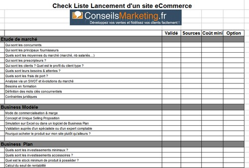 check list ecommerce
