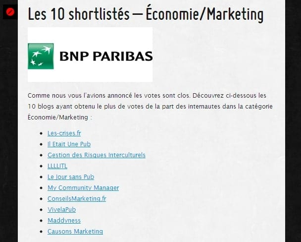 ConseilsMarketing.Fr dans la shorliste des Golden Blogs Awards 2012