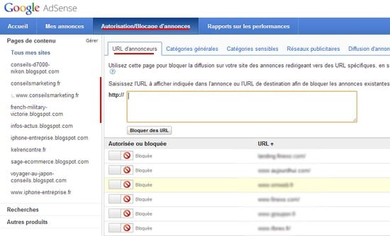 google adsense blocage