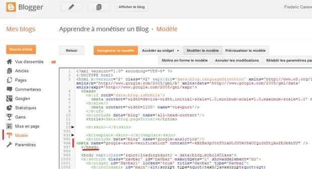 code webmaster tools blogger