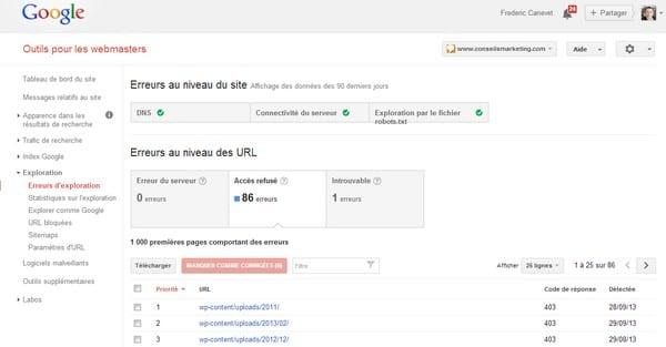 erreur exploration google webmaster tools