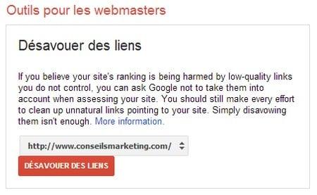 desavouer les liens google
