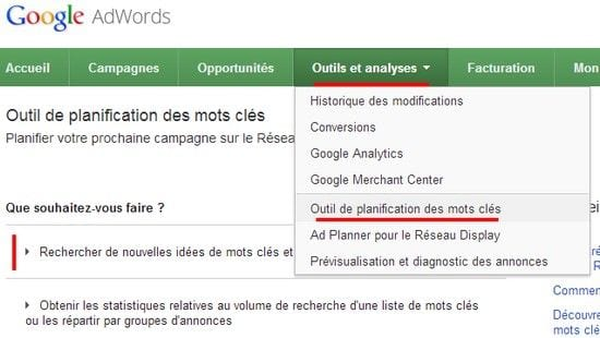 google adwords generateur de mots cles