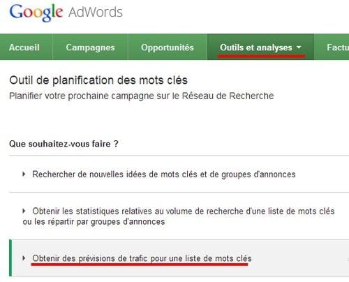 google adwords previsions trafic