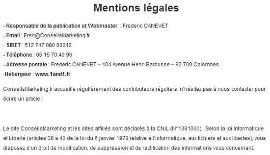 mentions légale site web