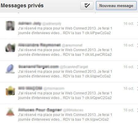 messages automatiques twitter