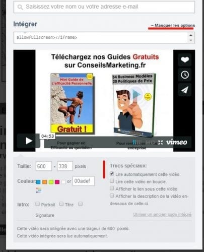 lecture automatique de video sur vimeo