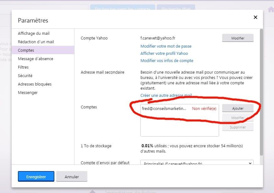 Comment ajouter un compte email pour son blog à Yahoo email ?