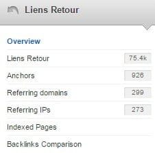 menu pour analyse des backlinks
