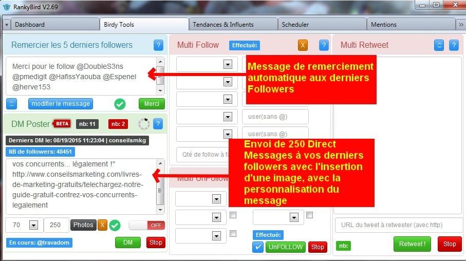 Enfin un remplaçant français pour TweetAdder, TweetAttacks... RankyBird pour automatiser Twitter 1