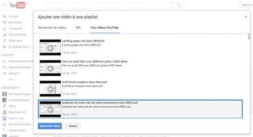 ajouts de vidéos