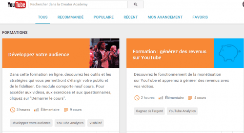 formation gratuite youtube