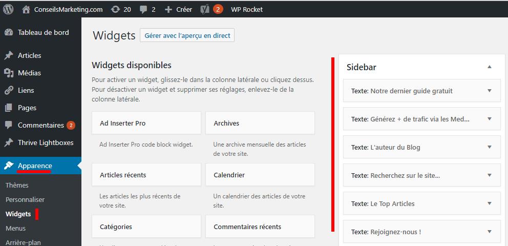 Comment ajouter un Widget dans Wordpress ? 1