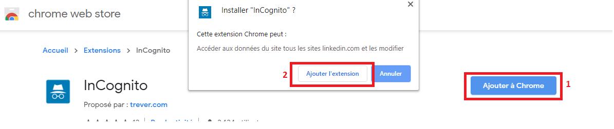 "Naviguez en mode incognito sur Linkedin avec l'extension ""InCognito"" 30"