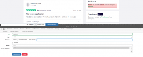 Comment faire du Web Scraping : cas pratique avec la récupération des avis clients sur Trustpilot avec webscraper.io 35
