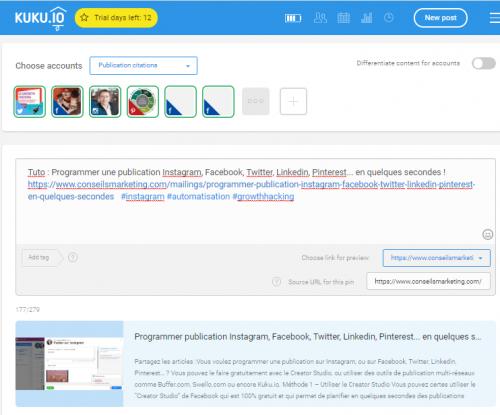 Tuto : Programmer une publication Instagram, Facebook, Twitter, Linkedin, Pinterest... en quelques secondes ! 6