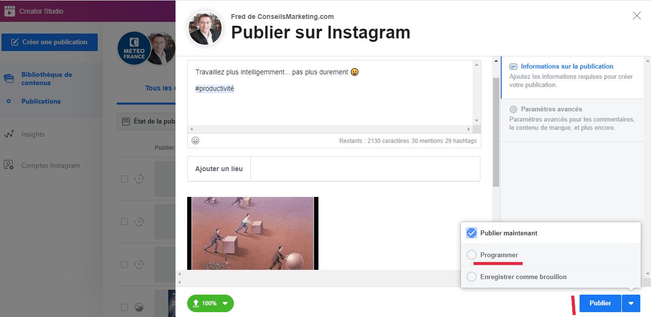 Tuto : Programmer une publication Instagram, Facebook, Twitter, Linkedin, Pinterest... en quelques secondes ! 1