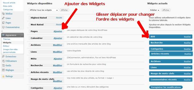 glisser déposer des widgets dans wordpress