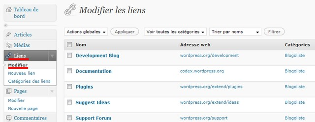 modifier blogoliste wordpress