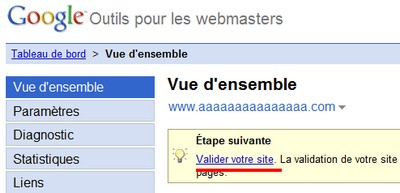 validation site google webmaster tool