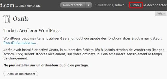 activer gears dans wordpress