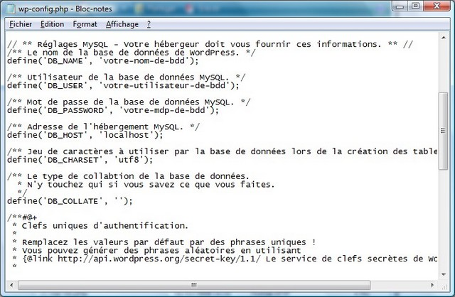 configuration fichier config de wordpress