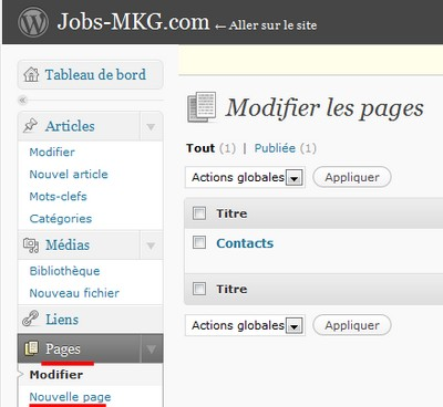 page wordpress
