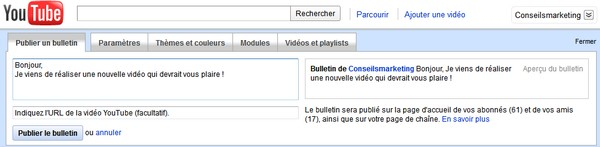 publier bulletin youtube