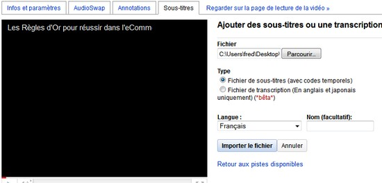 sous titre youtube