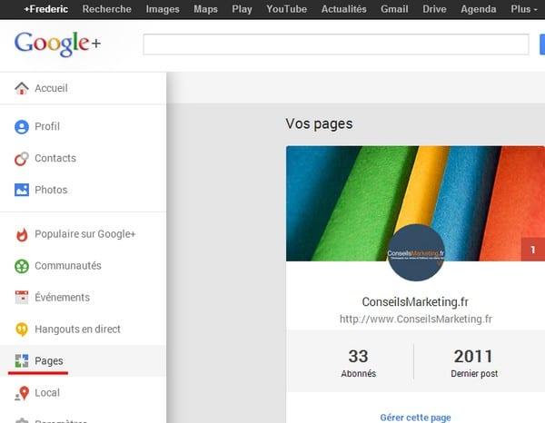 page entreprise google plus