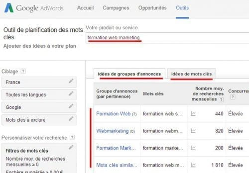 suggestion de mots cle adwords