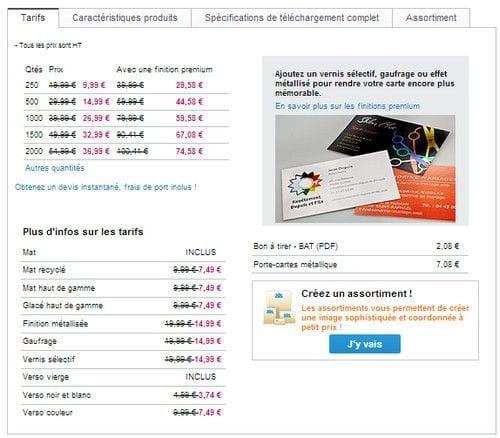 tarif carte visite