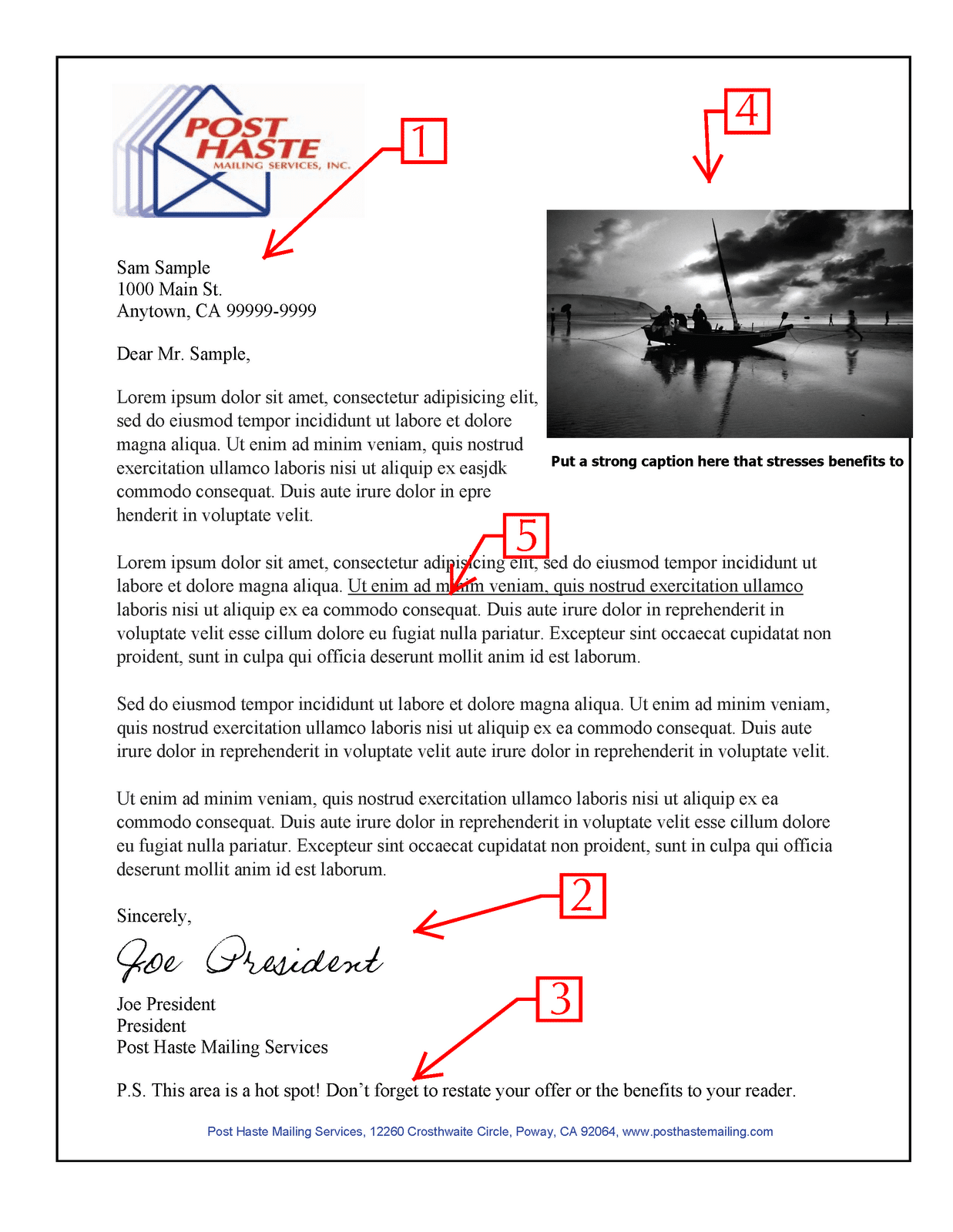 Sample letter copy