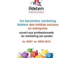 1er baromètre Marketing de l'Adetem Médias Sociaux en Entreprise 43