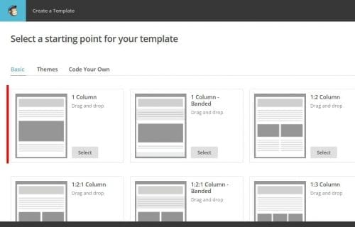 template 1 colonne