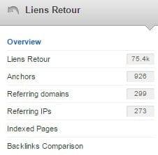 menu pour analyse des backlinks