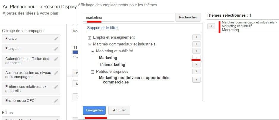 google ad planner thématique