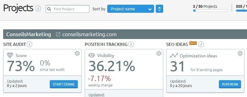 SEO Ideas, Landing Pages et Email Analytics, trois nouveaux outils dans SEMrush ! 4