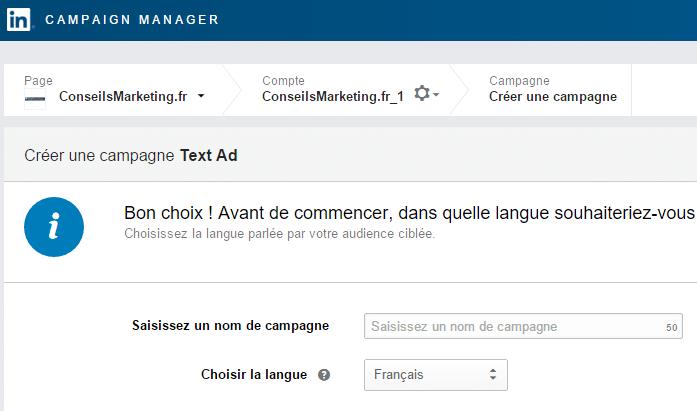 langue linkedin ads