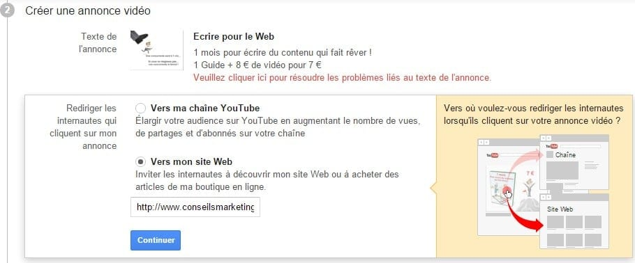 liens vers annonce youtube