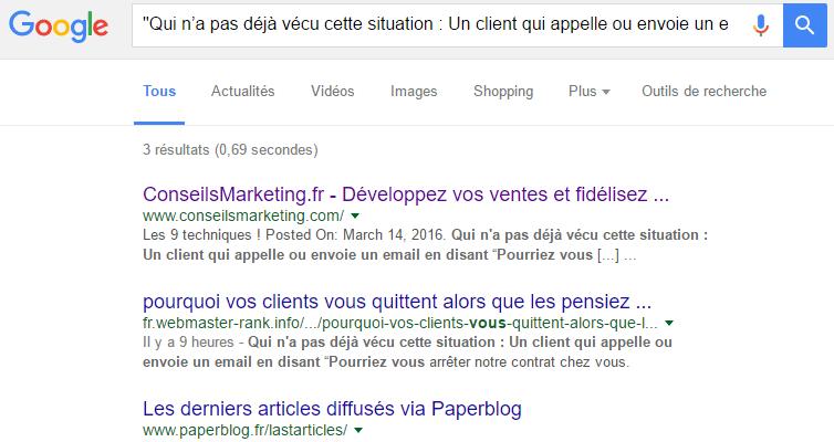 google recherches audit contenus