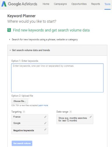 google keyors planner volume