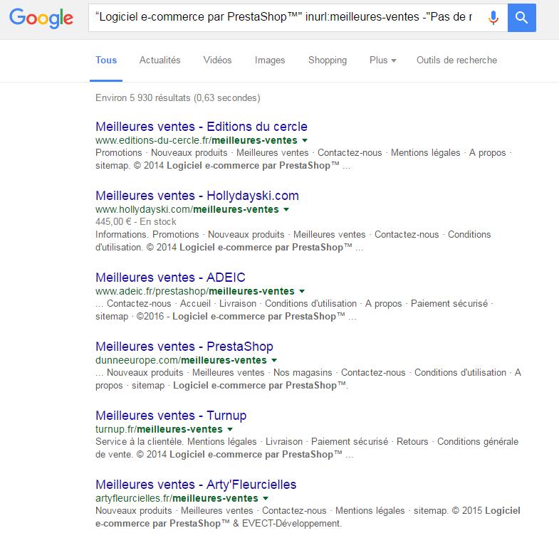 liste des resultats